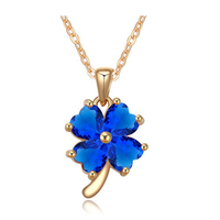 Four Leaf Clover of Blue/Green/Red stone necklace with 18k gold plated jewelry wholesale of silver jewelry