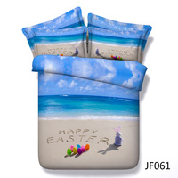 Happy Easter Beach and Easter Bunny HD digital print 3d bed linen set