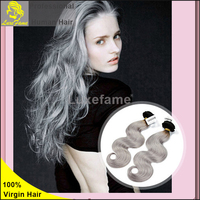 Luxefame 2015 best selling,mongolian grey hair with black top hair extension body wave silky