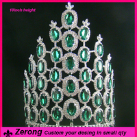 10inchcustom holiday emerald diamond tall pageant halloween tiara crown for lady
