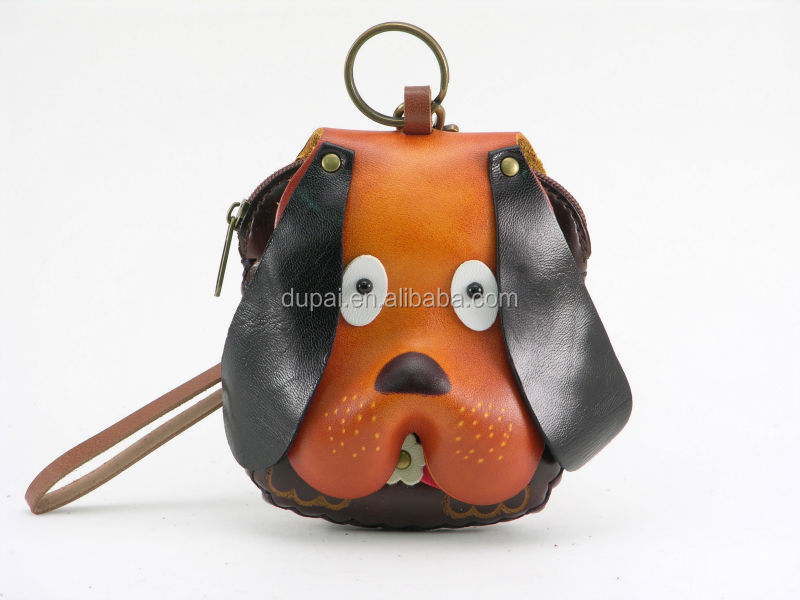 Wholesales genuine leather coin purse / wallets, dog animal shaped leather coin purse