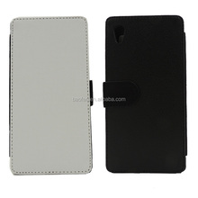 Factory Price Blank sublimation card holder leather flip cover for sony M4