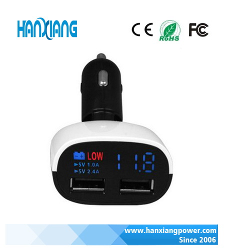 Newest Fastory Outlet LCD Usb Car Charger 3.4A 2016, Hot Selling Car Charger LCD Display For Sansung Galaxy S3