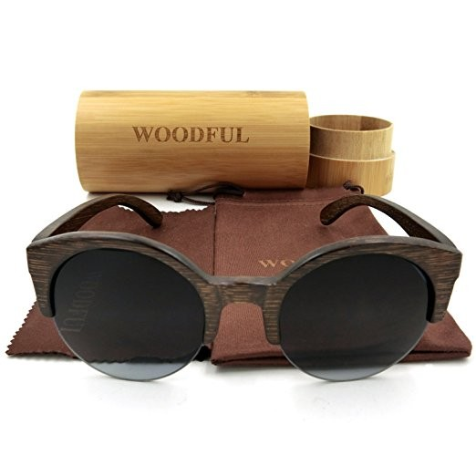 Unisex Half Frame Round Wooden Bamboo Glasses Sunglasses