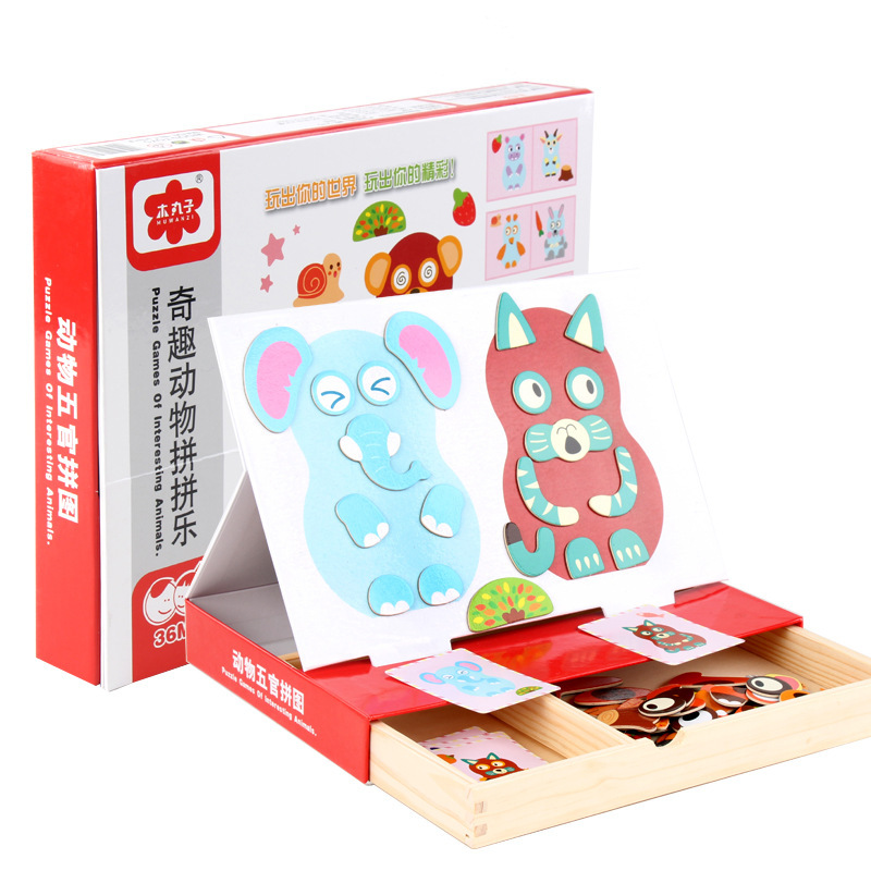 Early Learning Wooden Puzzle Toys Variety Magnetic Wooden Puzzle Animal Character Puzzle