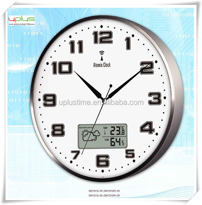 digital LCD display weather station round aluminum12 inch wall clock