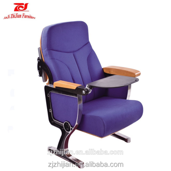 Luxury Auditorium chair portable theater seating with back table Conference hall chair with writting-pad
