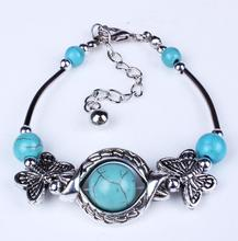 QD031 Huilin Butterfly Rotating Turquoise Beads Good Luck Bracelet Friendship Party Jewelry