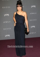 Celebrity Inspired Salma Hayek LACMA 2012 Art + Film Gala Black One Shoulder Dress