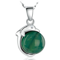 Wholesale 2015 New Gemstone Necklace 100% 925 Sterling Silver Pendant Necklace Nature Green Agate Dolphin Pendant Girl