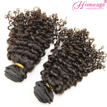 homeage remy fluffy brazilian deep curl hair weaving