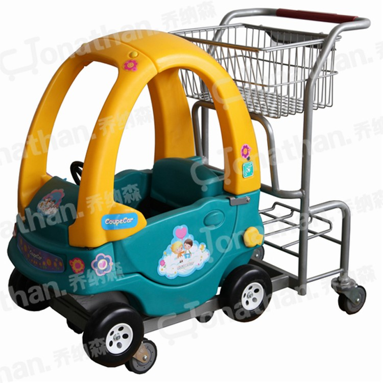 baby's plastic and steel small metal shopping cart on wheels