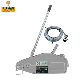 ALLMAN 800kg 1600kg 3200kg 5400kg top quality wire rope pulling hoist with 20m galvanized cable