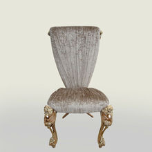 neoclassic dining chairs , wood and fabric chairs with rose bouquet carving