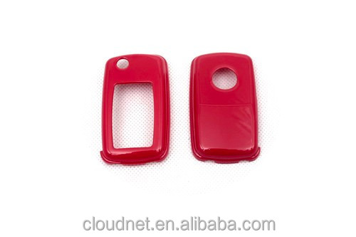Hard Plastic Keyless Remote Key Fob Flip Key Protection Case Cover (Gloss Red) For VW Volkswagen MK4 / MK5