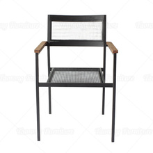 Black metal wood armchair for home