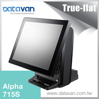 DataVan Alpha 715S easy upgrade aluminum haswell i3 i5 CPU 15 inch pos system with dual screen