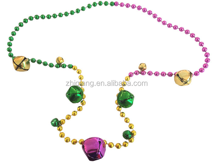 Mardi Gras/ Dionysia multicolor beads with jingle bell necklace