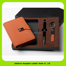 15001 Popular design leather gift set with Pen & key chain genuine leather dairy leather notebook gift set
