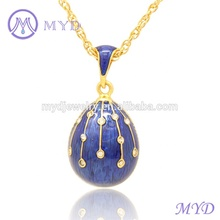 Easter Day Jewelry Women Crystal Beautiful Color Enamel Russian Faberge Egg Necklace Pendant