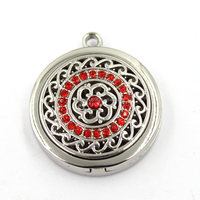 New arrival zinc alloy crystal aromatherapy diffuser essential oil locket for keychain and necklace
