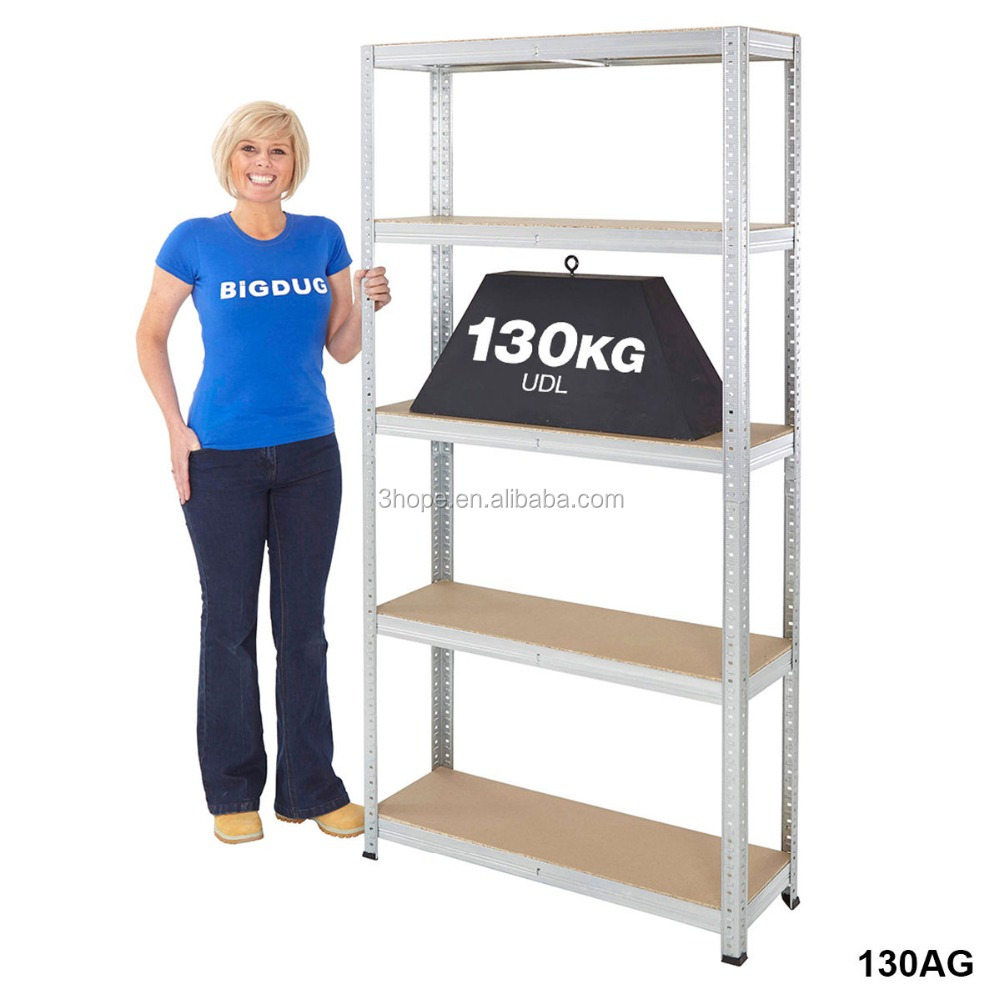 Garage Shelving Storeroom Stockroom Shelves Storage Unit 130kg UDL 5 Tier BiGDUG