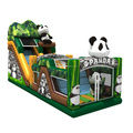 70915040 Cute design Inflatable Panda theme slide and bouncer combo