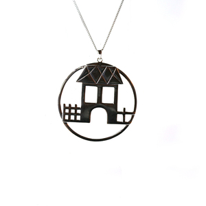 Fashion Trendy Fancy European 925 Sterling Silver Round Shape House Design Charms Pendant
