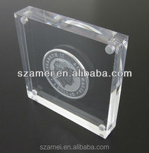 embedded acrylic coin paperweight