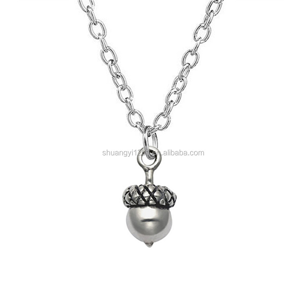 High Quality Antique Silver Acorn Necklaces Pine Cones Pine Nuts Pendants Necklaces