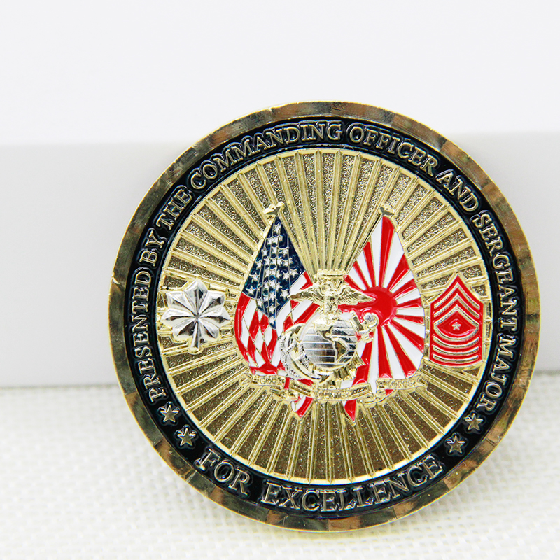 Custom Design Metal Diamond bezel Golden eagle memorable red Stamping Souvenir Commemorative Coin