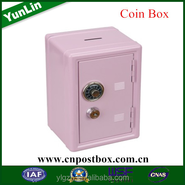 Powder coating gold coin box/diy money safe box/cute coin stealing