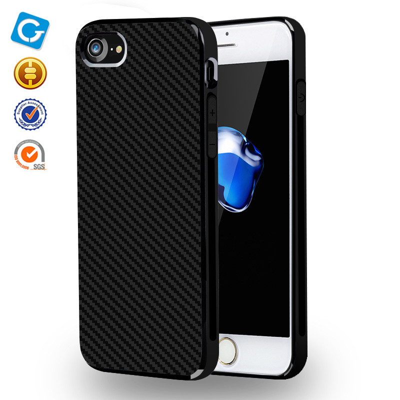 Carbon Fiber Texture Durable Soft TPU Shock-Absorbing Bumper Scratch-Resistant Non-Slip Back Cover Case for iphone 7 7plus