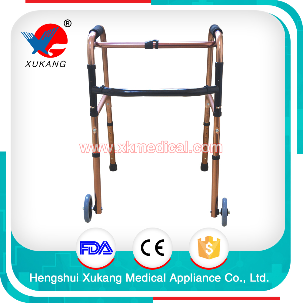 Medical Crutches Aluminium Alloy Adjustable 4-legs Walk Assist (with two wheels)/Walking Aid/Mobility walker aid for elderly