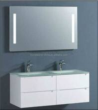 bathroom vanity cabinet with high qulity double bowl glass sink