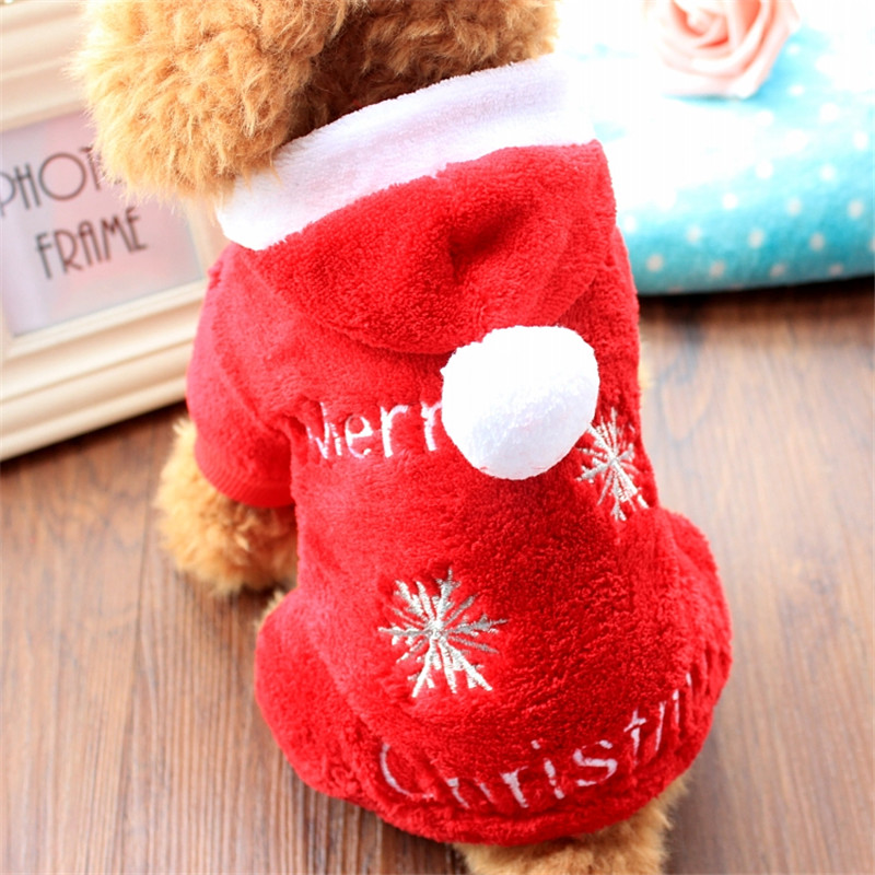 New Winter Costumes Coral Fleece Christmas Dog Clothes Closet With Four Legs