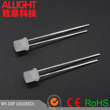 5mm led white diffused flat top dip red led diode