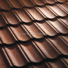 Brown and coffee brown colour tile stone coated metal roof tile