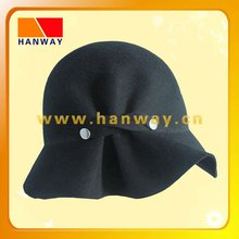 fashion wool felt pinched cloche hat with RIVET DETAIL