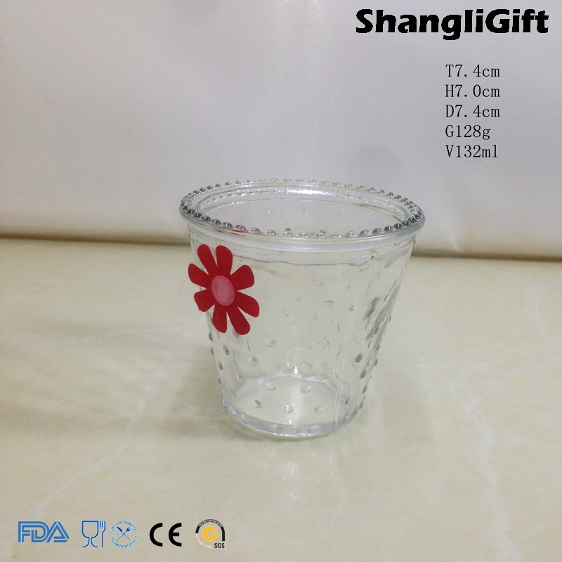 Clear Glassware 130ml Cute Glass Candle Jar For SPA