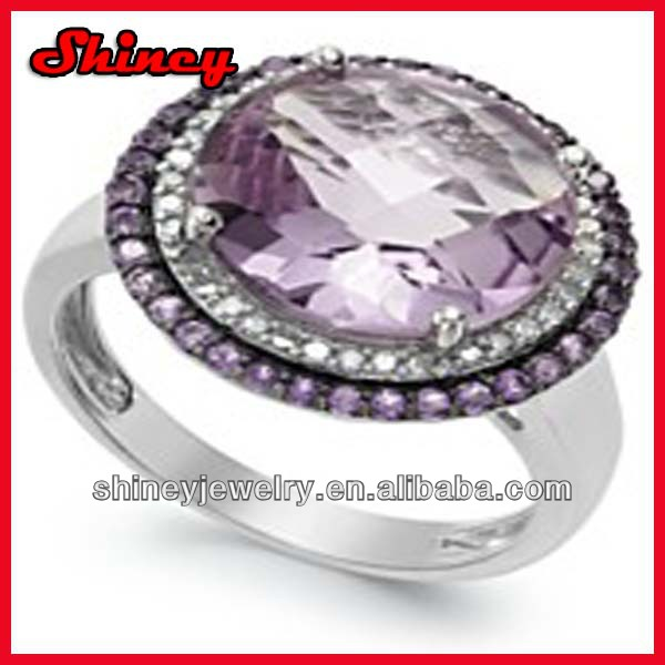 zir2014 fashion wedding ring,romantic silver big amythest zirconia women ring