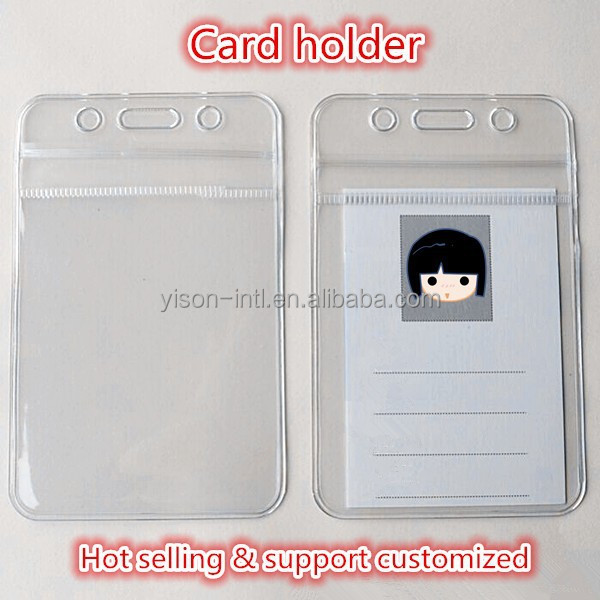 Customized staff & student clear pvc card holder id name card holder