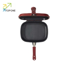 Happy calling Newest divided non-stick double fry pan/double sided grill pan