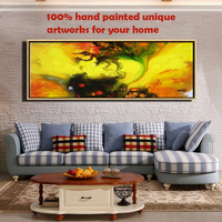 Hand-painted Abstract Oil Painting with Frame PSB-021