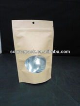 stand up window coffee bean kraft paper bags with ziplock/250g snack aluminum foil packaging bags