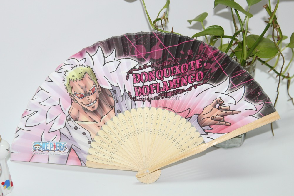 21cm long fold up bamboo paper fan printed by custom from factory