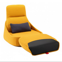 lifestyle Living Room Furniture yellow color sigle sofa with the footrest