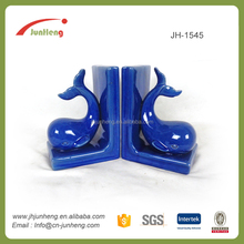 Resin crafts blue glazed ceramic animal bookend decoration, ceramic couple figurines, african figurines
