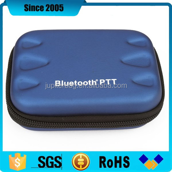 blue pu leather waterproof eva hdd external hard disk case