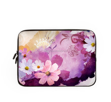 pink purple flowers printing soft laptop sleeve bags for women